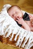 Pasgeboren jongen die vlinderdas dragen royalty-vrije stock afbeeldingen