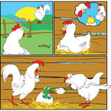 Pasgeboren in kippenfamilie Royalty-vrije Stock Foto