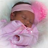 Pasgeboren Meisje in Roze stock afbeeldingen