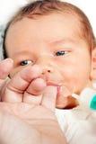 Pasgeboren met melk stock foto's