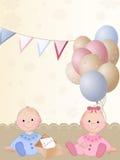 Pasgeboren tweelingen Royalty-vrije Stock Afbeeldingen