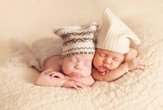 Pasgeboren tweelingen Royalty-vrije Stock Foto's