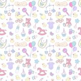 Pasgeboren van de het patroonjongen van de babydouche naadloze van de het meisjesverjaardag de vieringspartij royalty-vrije illustratie