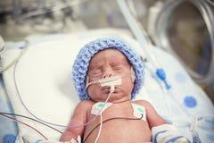 Pasgeboren voorbarige baby in het NICU-intensive care royalty-vrije stock foto's
