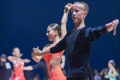 Pashkovskiy Roman and Dolzhevskaya Alexandra perform Adult Latin-American program Royalty Free Stock Images