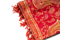 Pashmina shawl. With embroidery isolated on white Stock Photos