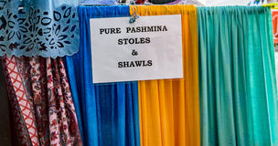 Pashmina Stoles and shawls on display Royalty Free Stock Photography