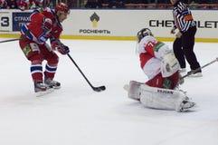 Pashnin Mikhail vs goaltender Royalty Free Stock Photo