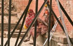 Pashupathinath Mandir,加德满都,尼泊尔- 2017 1月01,读者 库存图片