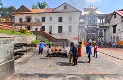 Pashupatinath Hindoese tempels. Nepal stock foto's