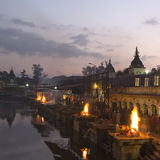 Pashupatinath temple complex on Bagmati River in the evening. Fu Royalty Free Stock Photo