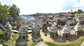 Pashupatinath temple and cremation ghats. Panorama view of stupas in Pashupatinath Hindu temple and cremation ghats, Khatmandu stock photography