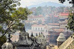Pashupatinath temple and cremation ghats Royalty Free Stock Image
