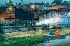 Pashupatinath Temple. The Pashupatinath Temple Nepali is a famous, sacred Hindu temple dedicated to Pashupatinath and is located on the banks of the Bagmati Stock Photography