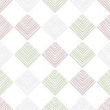 Pasiaści kwadraty na białym w kratkę geometrycznym abstrakcjonistycznym bezszwowym wzorze, wektor Obraz Stock