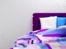 Pasiaści prześcieradła na łóżku ilustracji