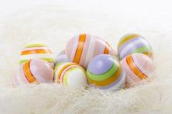 Pasiaści Wielkanocni jajka Fotografia Royalty Free