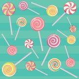 Pasiaste cukierek trzciny i cukierek na kiju bez opakowania Deser, Bożenarodzeniowi cukierki i jedzenie, wektor Obraz Stock