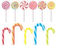 Pasiaste cukierek trzciny i cukierek na kiju bez opakowania Deser, Bożenarodzeniowi cukierki i jedzenie, wektor Zdjęcie Royalty Free