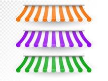 Pasiaste markizy dla sklepu i rynku Fotografia Royalty Free
