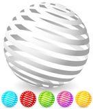 Pasiaste sfery w 6 kolorach ilustracji