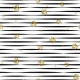 Pasiasty czarny i biały bezszwowy wzór z złotymi shimmer polki kropkami Obraz Stock