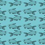 Pasiasty czerni ryby wzór na turkusowym tle ilustracja wektor