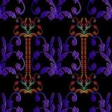 Pasiasty hafciarski Barokowy bezszwowy wzór Rocznika wektoru plecy Obrazy Royalty Free