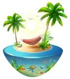 Pasiasty hamak między drzewkami palmowymi na tropikalnej wyspie Raj plaży wakacje w Hawaje ilustracja wektor