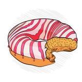 pasiasty pączek i menchie Apetyczna różowa ilustracja wektor ilustracji