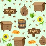 Pasiek ilustracj beekeeping wektorowego miodowego słoju naturalny organicznie słodki insekt honied beeswax honeyed bezszwowego wz ilustracja wektor