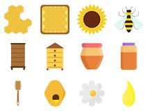 Pasieka ustawia odosobnionego na białym tle w mieszkanie stylu Beekeeping ikony: słój naturalny organicznie słodki miód, beeswax ilustracja wektor