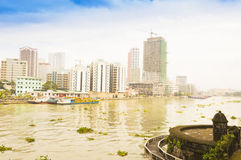 Pasig river in Intramuros district, Manila Stock Photo
