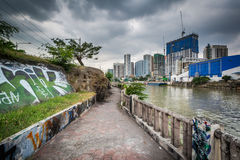 The Pasig River in Makati, Metro Manila, The Philippines. Royalty Free Stock Photo