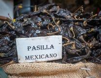 Pasilla chili in Oaxaca market, Mexico Stock Photo