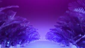 Pasillo abstracto de las plantas azul-violetas almacen de video