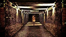 Pasillo asustadizo del horror, fondo abstracto almacen de video