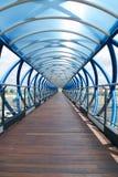 Pasillo azul y de madera Imagen de archivo libre de regalías