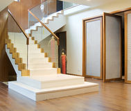 Pasillo con la escalera y la puerta principal Imágenes de archivo libres de regalías
