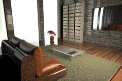 Pasillo con la TV y la ventana grande Fotos de archivo