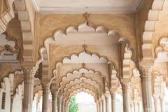 Pasillo de la audiencia pública, fuerte de Agra, la India Fotografía de archivo libre de regalías