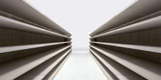 Pasillo de las compras con los estantes vacíos ilustración del vector
