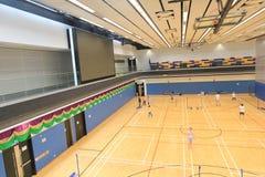 Pasillo del bádminton de Hong Kong en Hang Hau Sports Centre Imagen de archivo