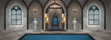 Pasillo del castillo Palacio medieval con la decoraci?n y muebles reales Interior con la mesa de comedor, trono Vector de la hist libre illustration