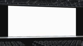 Pasillo del cine con el auditorio que mira en maqueta de la pantalla en blanco libre illustration