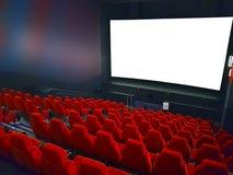 Pasillo del cine con los asientos rojos Foto de archivo libre de regalías