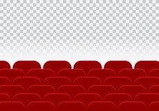 Pasillo del cine o teatro y fila vacíos de los asientos rojos del auditorio encendido Fotografía de archivo