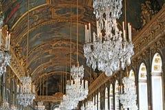 Pasillo del espejo del castillo francés de Versalles. Francia Fotografía de archivo