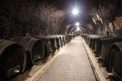 Pasillo en el lagar subterráneo Foto de archivo libre de regalías