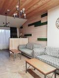 Pasillo en hotel moderno en la estación de esquí Bukovel foto de archivo libre de regalías